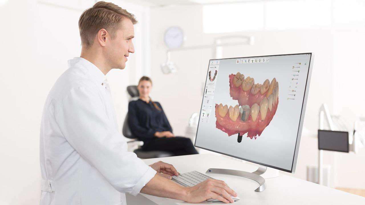 dental specialist is working on implant cases