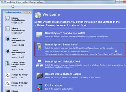 3Shape Dental Syste server installation on existing PC