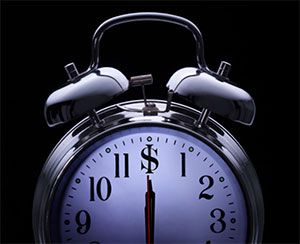 clock on black